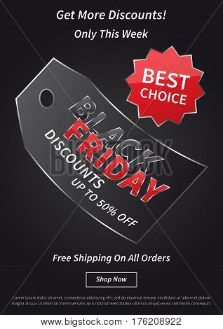 Black Friday with red price tag vector illustration on light grey background. Creative banner Black Friday with label Best Offer layout with sample text for coupons advertising.
