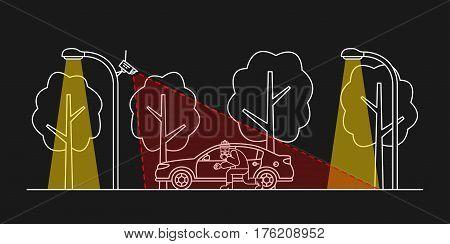Car video surveillance vector illustration. Outdoor camera control creative concept. Car thief detection graphic design.