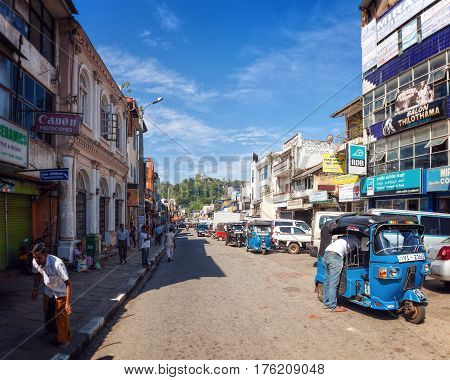 Kandy, Sri Lanka - January 6th 2016: Busy Street in Downtown Kandy, the Second Largest City and the Cultural Capital of Sri Lanka.