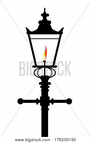 A typical old London gaslight with flame and glow over a white background