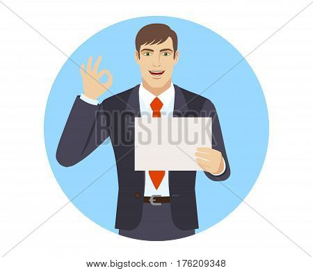 Businessman showing a a paper and show a okay hand sign. Portrait of businessman in a flat style. Vector illustration.