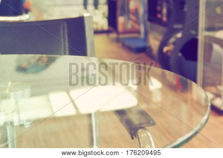 Blur background decor showroom customer service area Photo in office at shelf with car part product color retro tone has free space for your product copy head line logo and picture