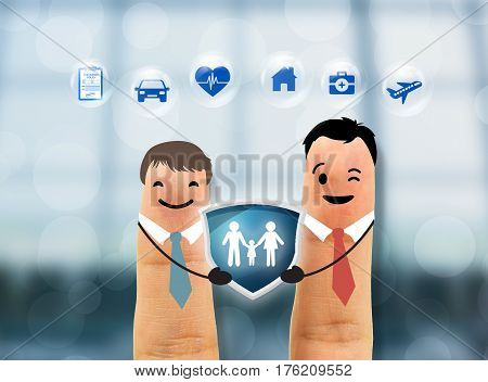 business salesman agent hand holding family protection. concept accident prevention healthcare insurance.