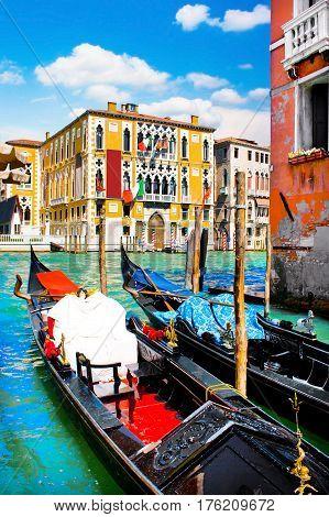 Gondolas at Canal Grande with Palazzo Cavalli-Franchetti in Venice Italy poster