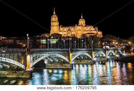 Beautiful View Of The Historic City Of Salamanca With New Cathedral And Enrique Esteban Bridge At Ni