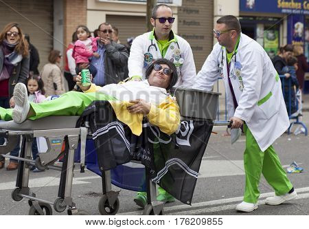 Badajoz Spain - February 28 2017: Performers take part in the Badajoz Carnival. This is one of the best carnivals in Spain especially highlighting massive participation of people