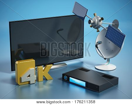 Satellite dish 4K ultra HD receiver and TV isolated on white background. 3D illustration.