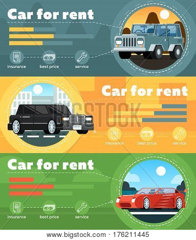 Car for rent banner set vector illustration. Automobile rental business infographic, leasing or renting car service. Transportation concepts with limousine, SUV and sport car in flat design.