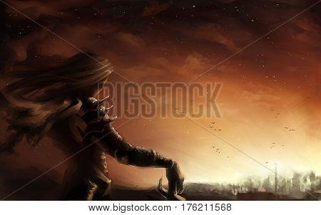 digital illustration of a fantasy female warrior look out at dusk sunset