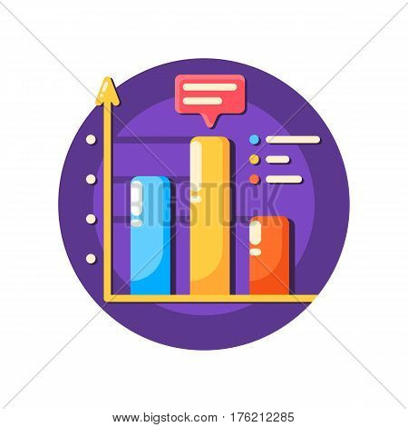 Business data graph flat icon solated. Vector illustration