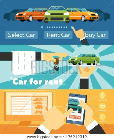 Online automobile rental business banner set vector illustration. Car for rent concept, pre order and conclusion of contract for renting car service. Transportation advertisement with city car