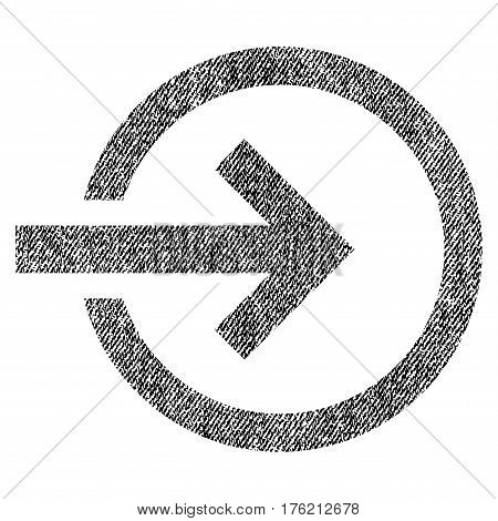 Import vector textured icon for overlay watermark stamps. Fabric black vectorized texture. Symbol with unclean design. Rubber seal stamp with fiber textile structure.
