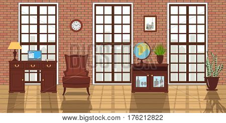 Loft studio furnished Interior. Big windows, red brick wall, sunlight. Luxury modern studio with armchair, desk, lamp, laptop, wooden floor and large french windows. Space concept. Template, 3d design