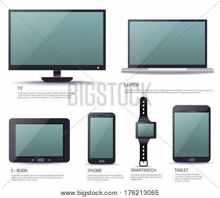 Electronic smart device set with blank screen isolated on white background vector illustration. Ebook, TV, laptop, tablet, smartphone, smartwatch gadgets. Modern technologies collection in flat design