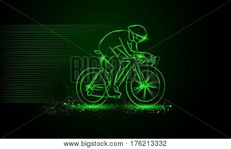 Cycling race. Vector neon illustration. Cycling race. Bike competition.