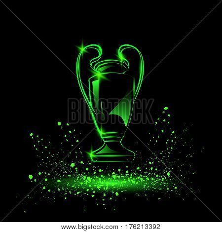 Champions Cup. Sports Soccer trophy.  Vector neon illustration.