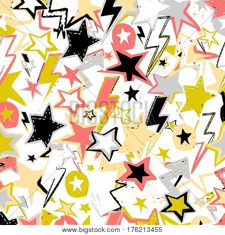 Vector cute seamless background. Magic stars comets meteors. Hand drawn pattern.