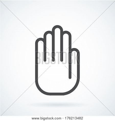 Black flat simple icon style line art. Outline symbol with stylized image of a gesture hand of a human stop, palm. Stroke vector logo mono linear pictogram web graphics. On a gray background.