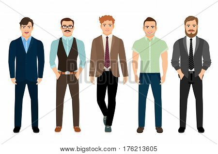 Handsome men dressed in business formal male style, vector illustration