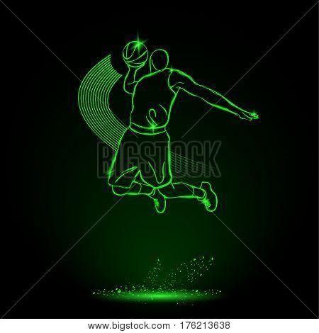 Basketball. Throw the ball, Slam. Vector neon illustration.