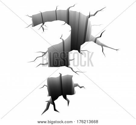 3D illustration, question mark hole in the ground