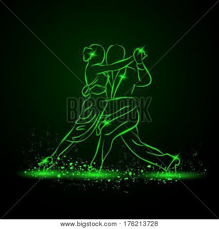 Couple dancing tango. Vector green neon illustration.