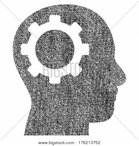Intellect Gear vector textured icon for overlay watermark stamps. Fabric black vectorized texture. Symbol with unclean design. Rubber seal stamp with fiber textile structure.