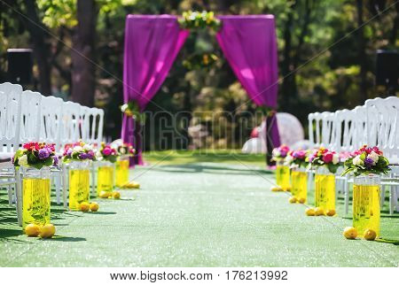 Beautiful wedding archway. Arch decorated with purple cloth and green petals with lemons. Whote decorated wooden chairs on each side of it