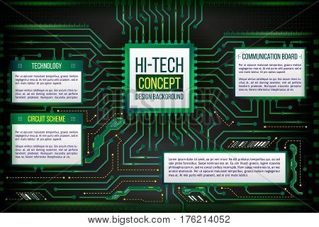 Abstract computing circuit background. Digital technology data concept. Futuristic motherboard system. Hardware communication between chip and cpu. Illustration of hi-tech computer technology.