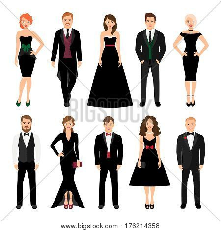 Elegant fashion people vector illustration. Men in tuxedos and women in black evening dresses isolated on white background