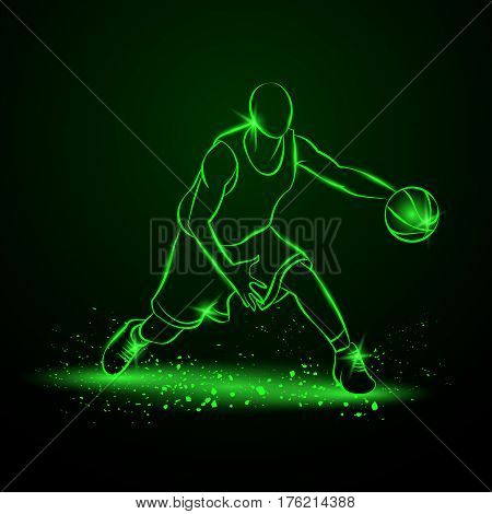 Basketball player with ball. Vector neon illustration.