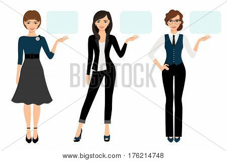 Businesswoman presentation vector illustration. Adult woman business presenting isolated on white background