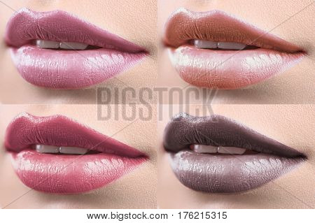 Pink to brown. Collage of 4 close up shots of lips of a beautiful woman covered with lip gloss beauty sexy seductive sensuality femininity lipstick cosmetics beautician lip augmentation concept