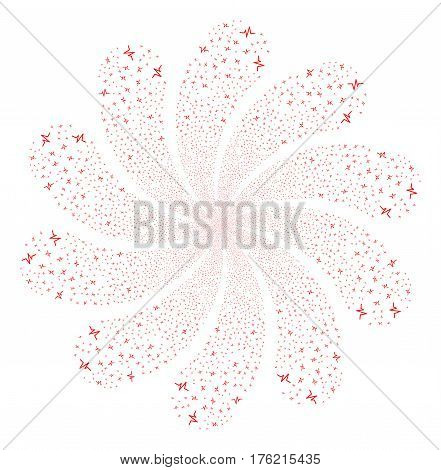 Pulse fireworks swirl flower with ten petals. Vector illustration style is flat red scattered symbols. Object whirl done from random symbols.