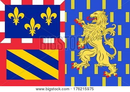 Flag of Bourgogne-Franche-Comte is a Region of France created by the territorial reform of French Regions in 2014 by the merger of Burgundy and Franche-Comte. Vector illustration