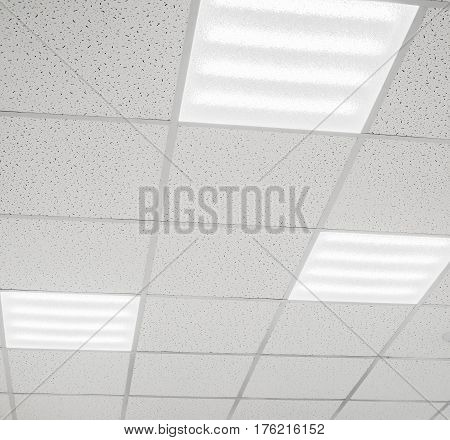 Modern lightweight suspended ceiling with LED lamps