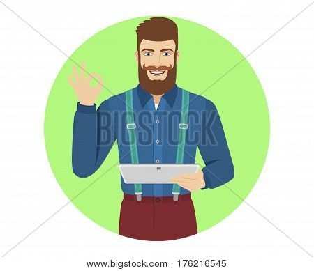 Hipster holding digital tablet PC and show a okay hand sign. Portrait of hipster in a flat style. Vector illustration.