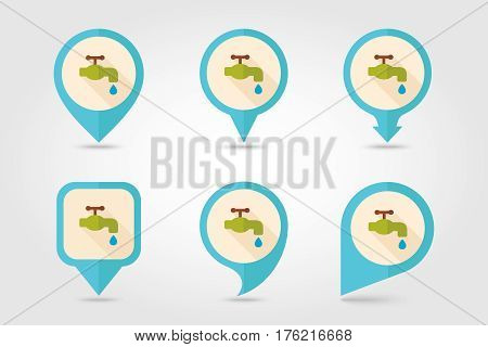 Faucet flat vector pin map icon. Map pointer. Map markers. Garden eps 10