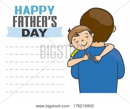 happy fathers day. Boy hugging his father.