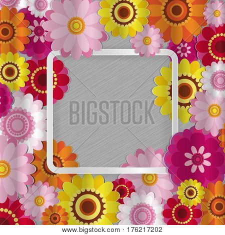 Spring congratulatory floral background. Festive paper flowers on a square light frame. Shaded noble gray background. Greeting card with a holiday on March 8, Mother's Day, birthday.