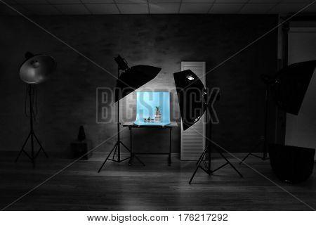 Interior of professional photo studio while shooting plants
