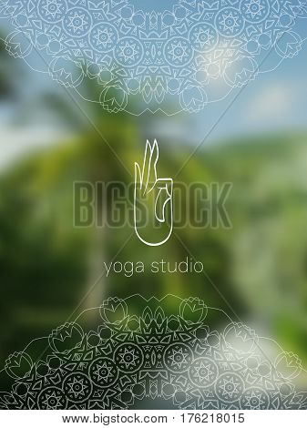 Tropical yoga studio banner. Sacred geometry mandala on realistic tropic background. Sunny jungle. Good for yoga studio, tantra or meditation resort, flyer, invitation. Vector EPS10 illustration.