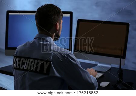 Male security guard on workplace