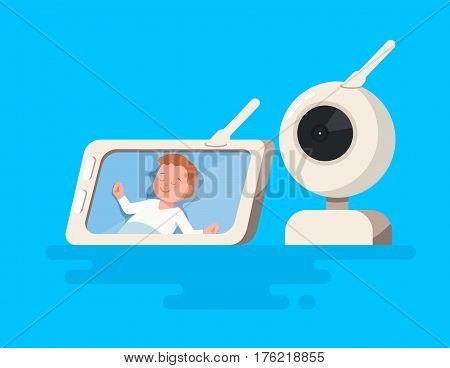 Vector illustration of video baby monitor with child sleeping in baby cot show on the screen gadget on blue background in flate style. Child safety at home