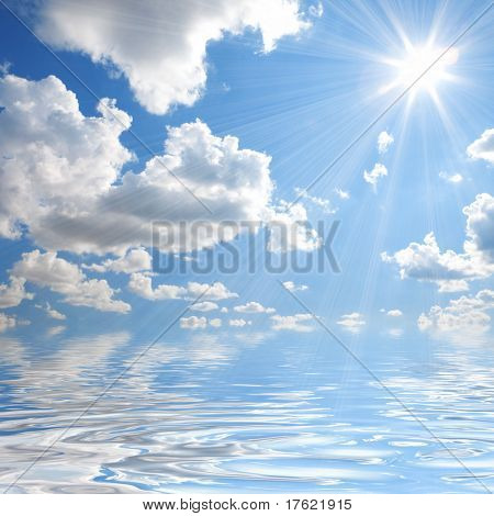 zonnige hemelachtergrond