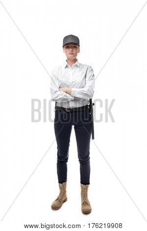 Female security guard on white background