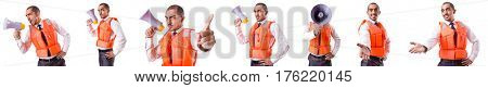 Man in life jacket isolated on white