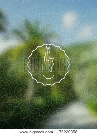 Tropical yoga banner. Sacred geometry mandala on realistic tropic background. Sunny jungle. Good for yoga studio, tantra or meditation resort, flyer, card, invitation. Vector EPS10 illustration.