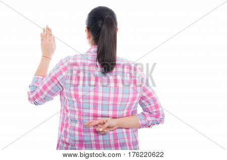 Back View Of Woman With Crossed Fingers