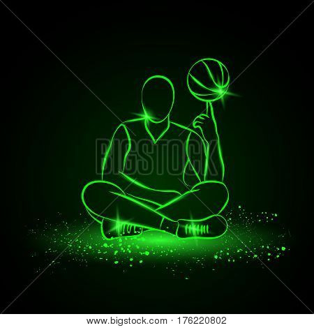 Basketball player spins the ball. Neon style